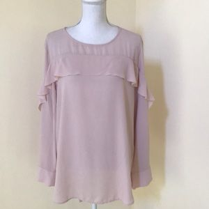 BananaRepublic XL blush L/S Ruffled Blouse